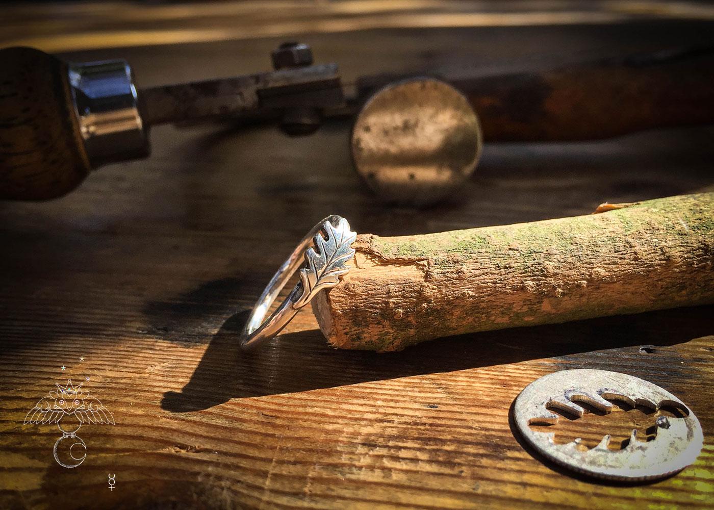 oak leaf acorn ring Recycled silver