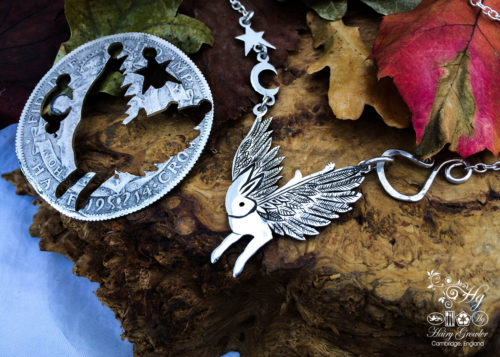 Handcrafted and recycled sterling silver flying rabbit hare necklace