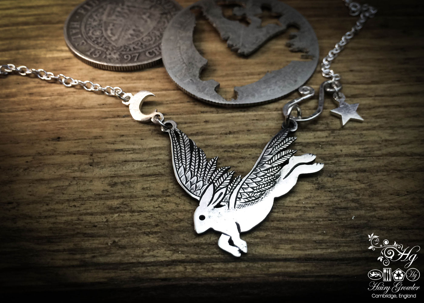 Handmade and upcycled sterling silver flying rabbit hare necklace