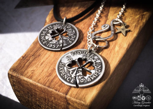 Lucky sixpence coin jewellery Handcrafted and recycled lucky sixpence coin necklace pendant