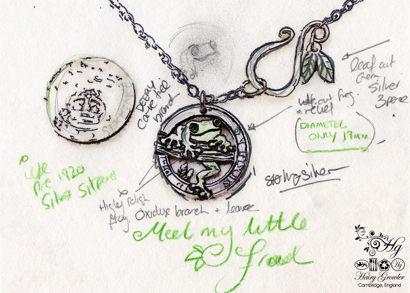 Hand crafted and repurposed silver sixpence coin frog pendant necklace