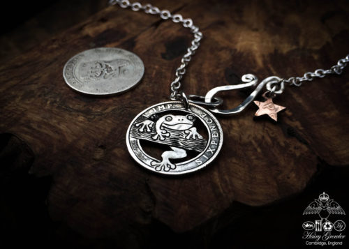 Handcrafted and recycled silver sixpence coin frog pendant necklace