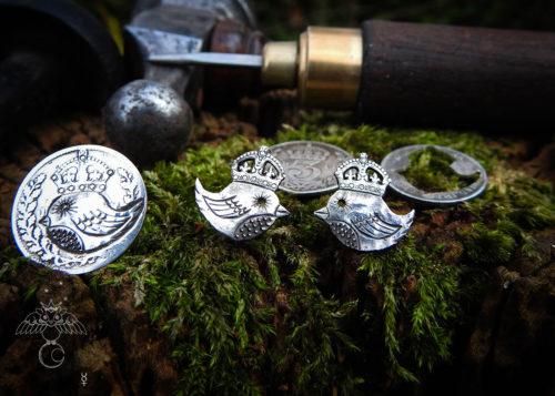 Bird earrings - Recycled silver threepence earrings.
