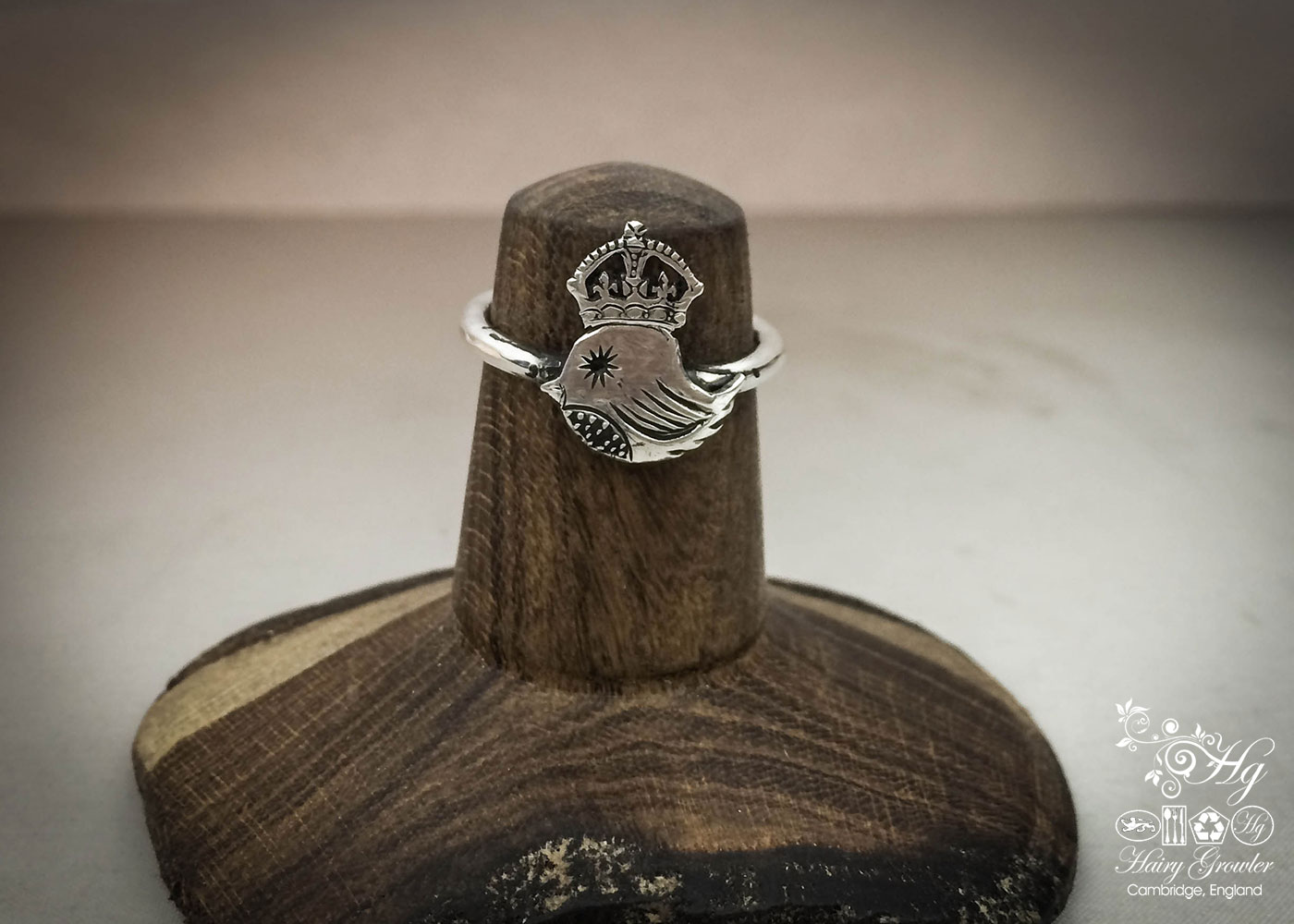 The 'teeny weeny bird queen' recycled silver threepence coin ring. Handmade and upcycled silver bird ring