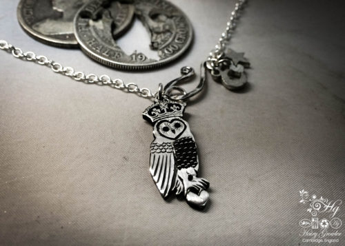 Handmade and repurposed coin owl-queen pendant necklace