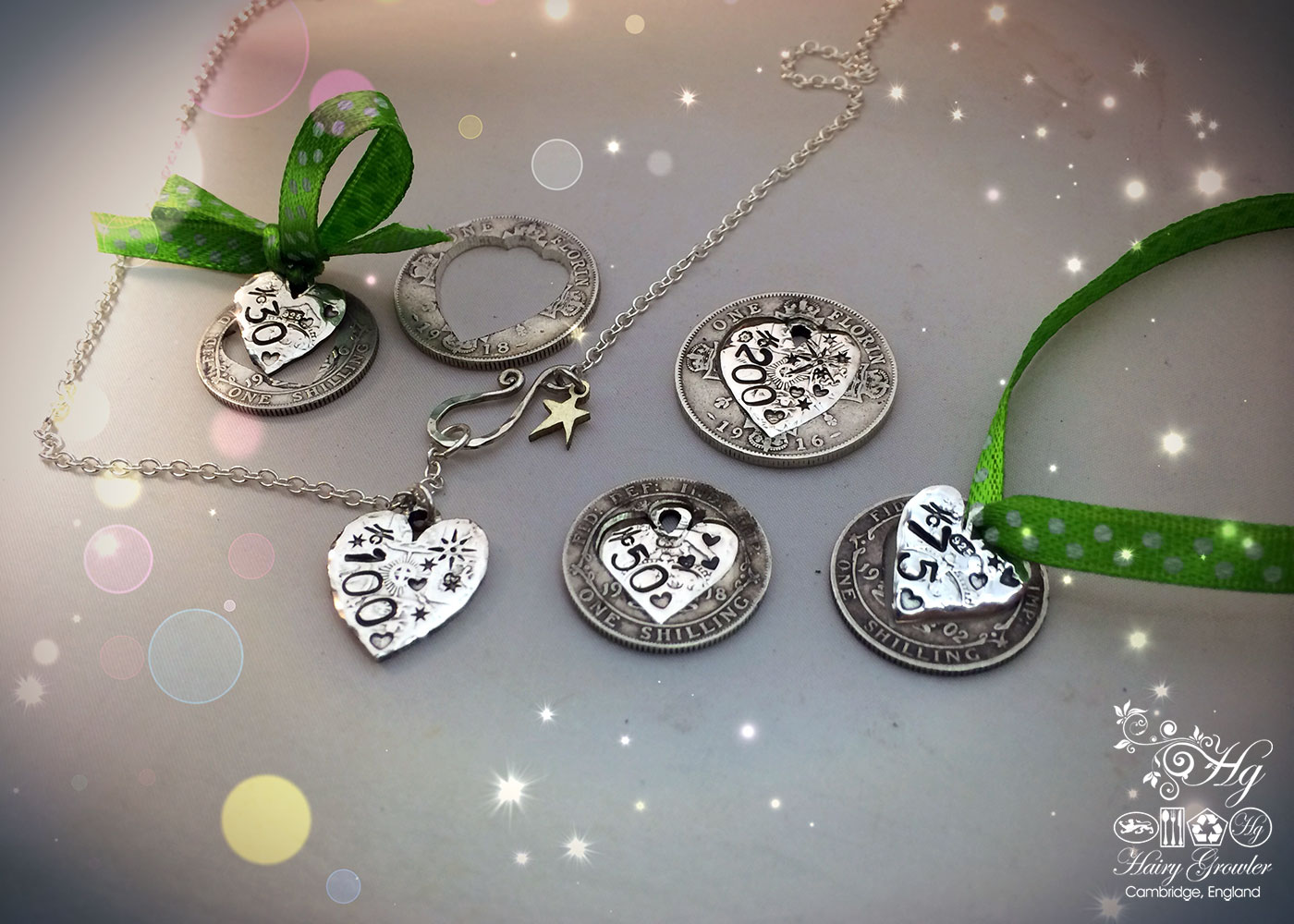 handmade and recycled silver coin gift token