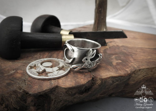 handmade, recycled, repurposed and upcycled leaping hare ring