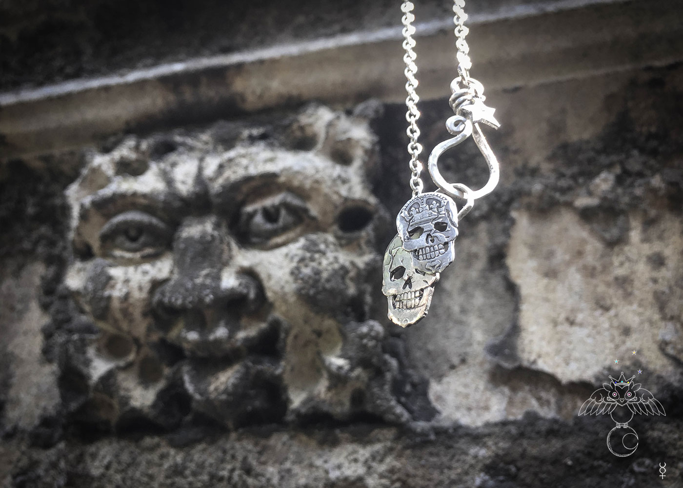 skull necklace handmade coin jewellery. Independent jeweller artisan studio creating ethical jewellery