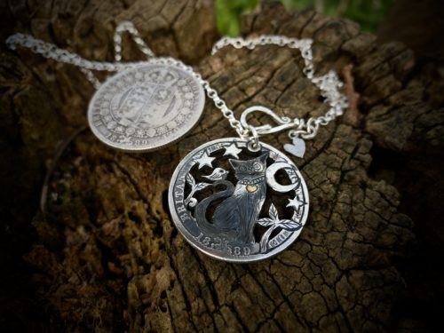 Little Lion heart and Bird brain Recycled silver Half Crown coin