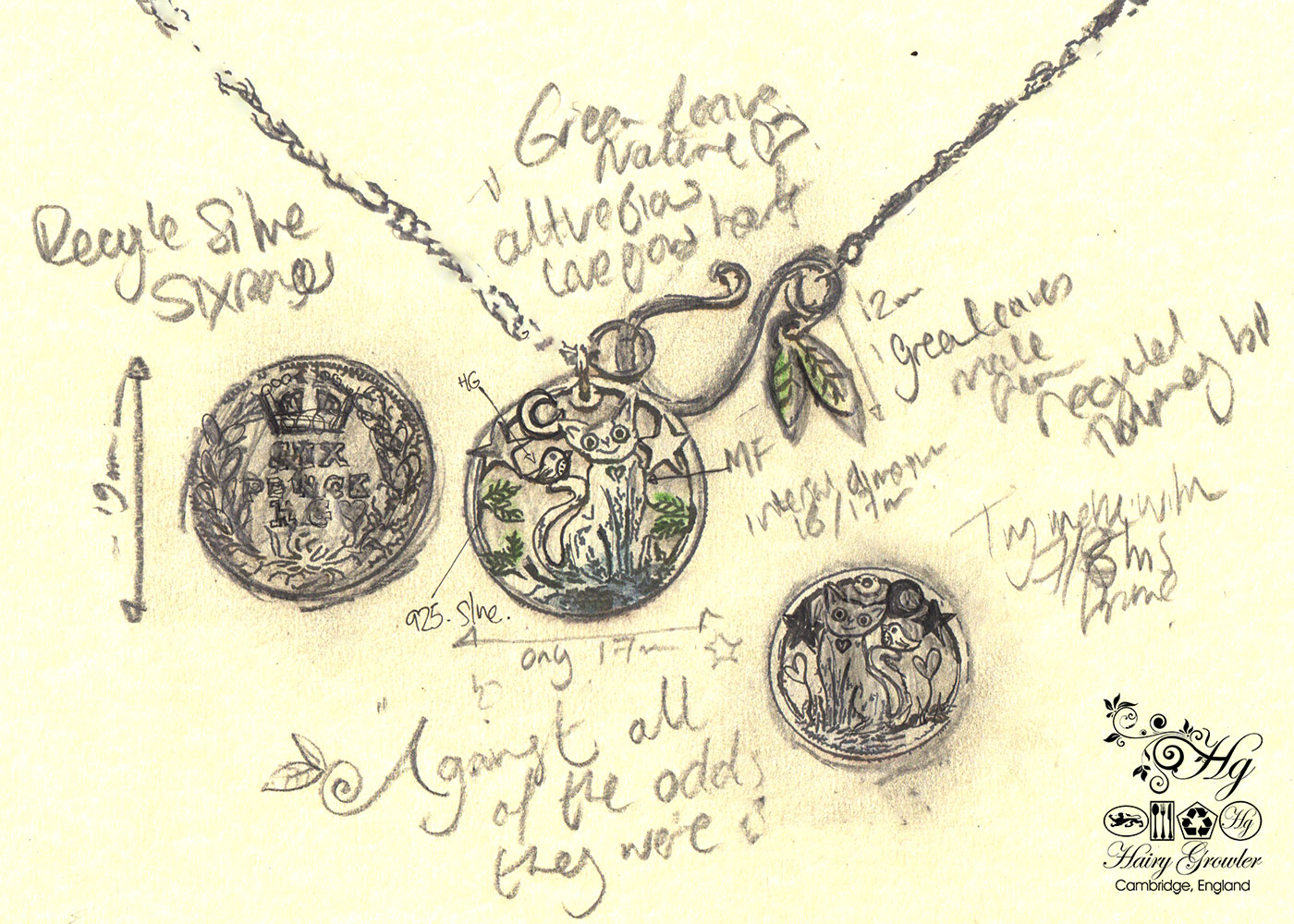 Handcrafted and recycled silver sixpence coin cat and bird pendant necklace