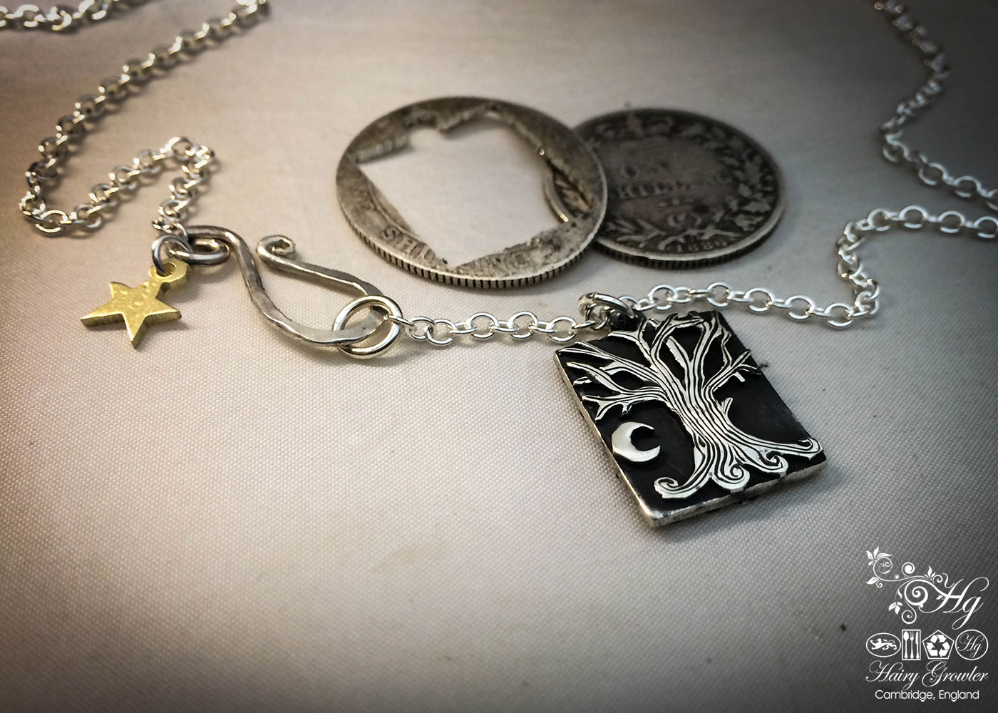 handcrafted and recycled silver Georgian shilling tree-of-life necklace pendant made in Cambridge