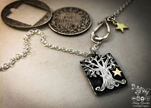 Unique tree pendant - double sided, handmade and Recycled sterling silver shillings