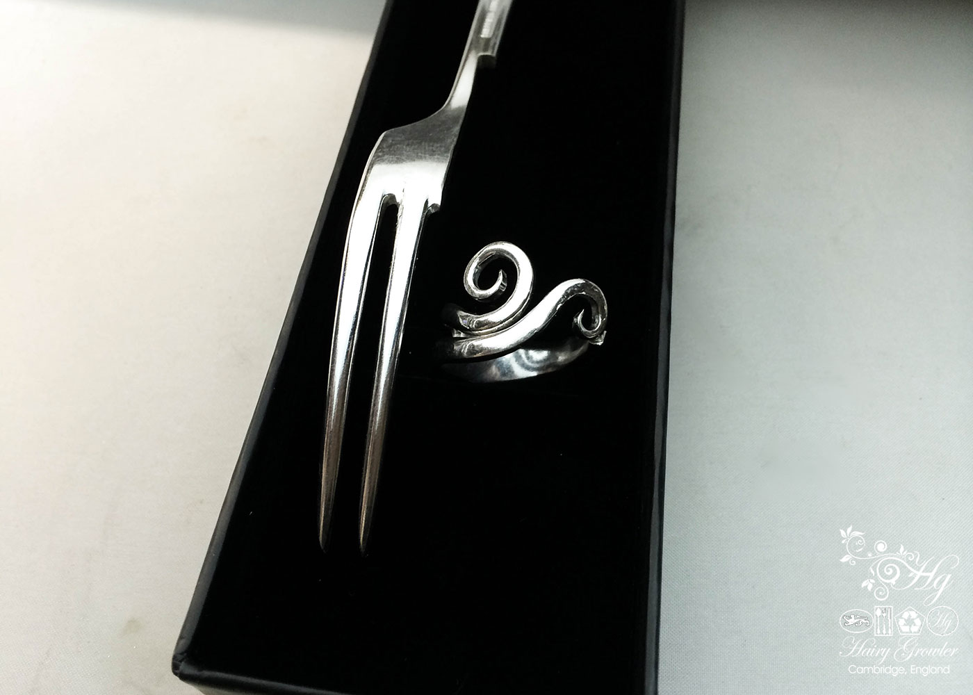 handcrafted and recycled swirling fork tine ring flatware upcycled ring
