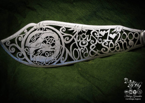 Individually commissioned and recycled bespoke celtic custom wedding-cake-knife