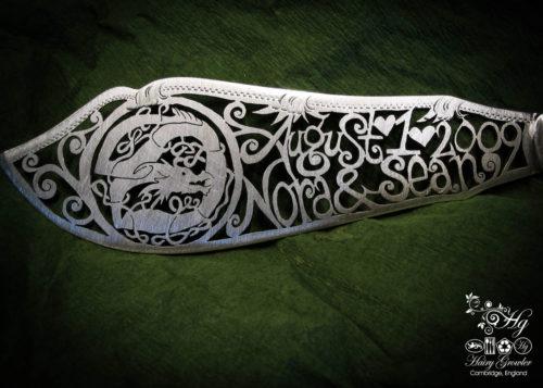 Individually commissioned and recycled bespoke celtic custom wedding-cake-knife