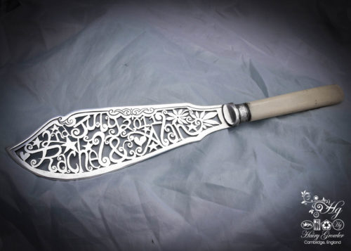 Individually commissioned and recycled bespoke custom wedding-cake-knife