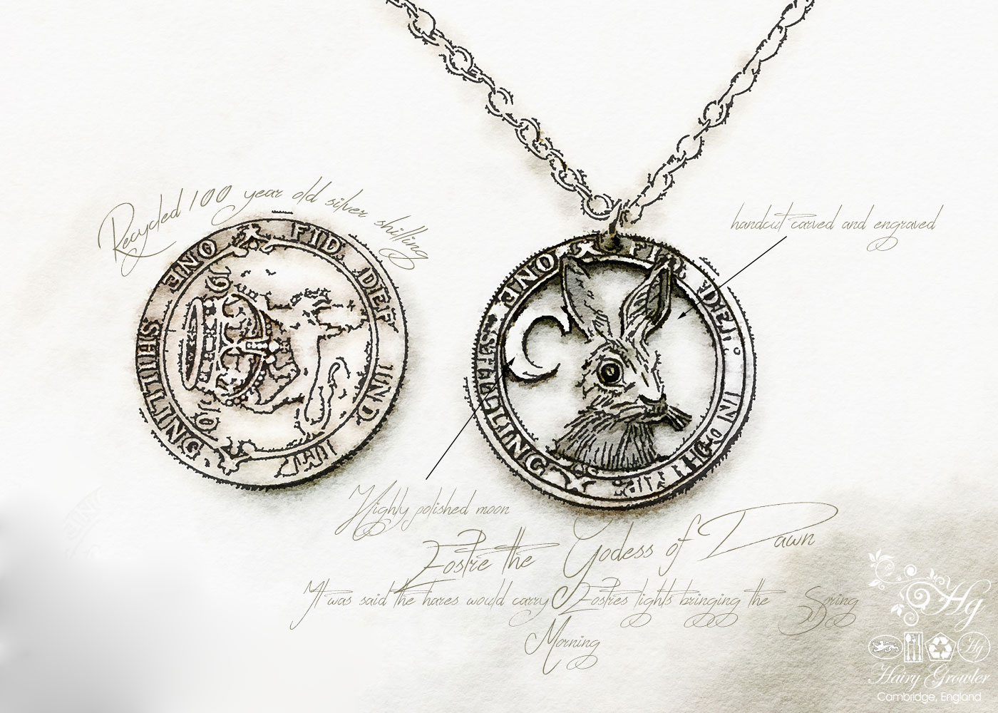 Handcrafted and recycled silver shilling The Silver Shilling collection. silver hare necklace totally handcrafted and recycled from old sterling silver shilling coins. Designed and created by Hairy Growler Jewellery, Cambridge, UK. necklace