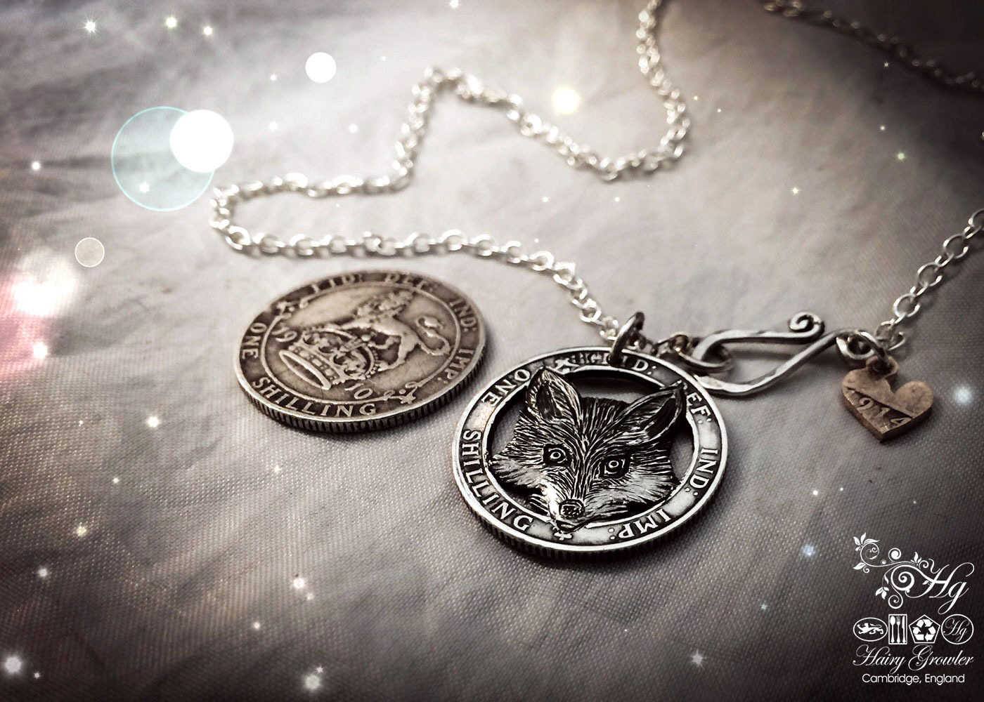 Hand crafted and upcycled silver shilling The Silver Shilling collection. silver fox necklace totally handcrafted and recycled from old sterling silver shilling coins. Designed and created by Hairy Growler Jewellery, Cambridge, UK. necklace