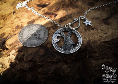 Handmade and repurposed silver shilling The Silver Shilling collection. silver hare necklace totally handcrafted and recycled from old sterling silver shilling coins. Designed and created by Hairy Growler Jewellery, Cambridge, UK. necklace