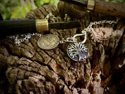 Tree necklace pendant - Recycled silver threepence coins
