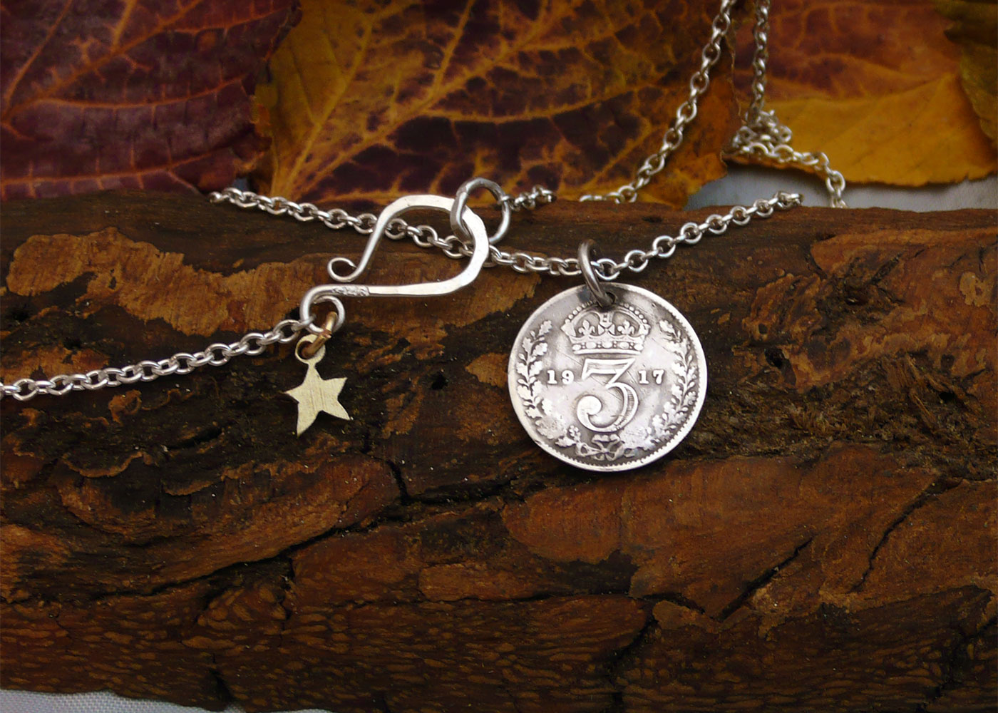 sterling silver threepence coin tree necklace reverse