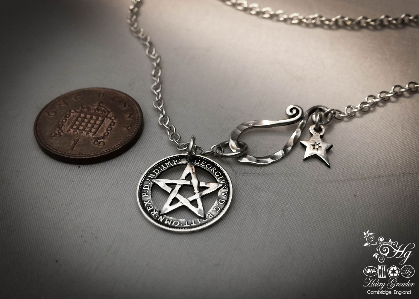 handmade, upcycled, contemporary and original silver coin pentacle necklace pendant