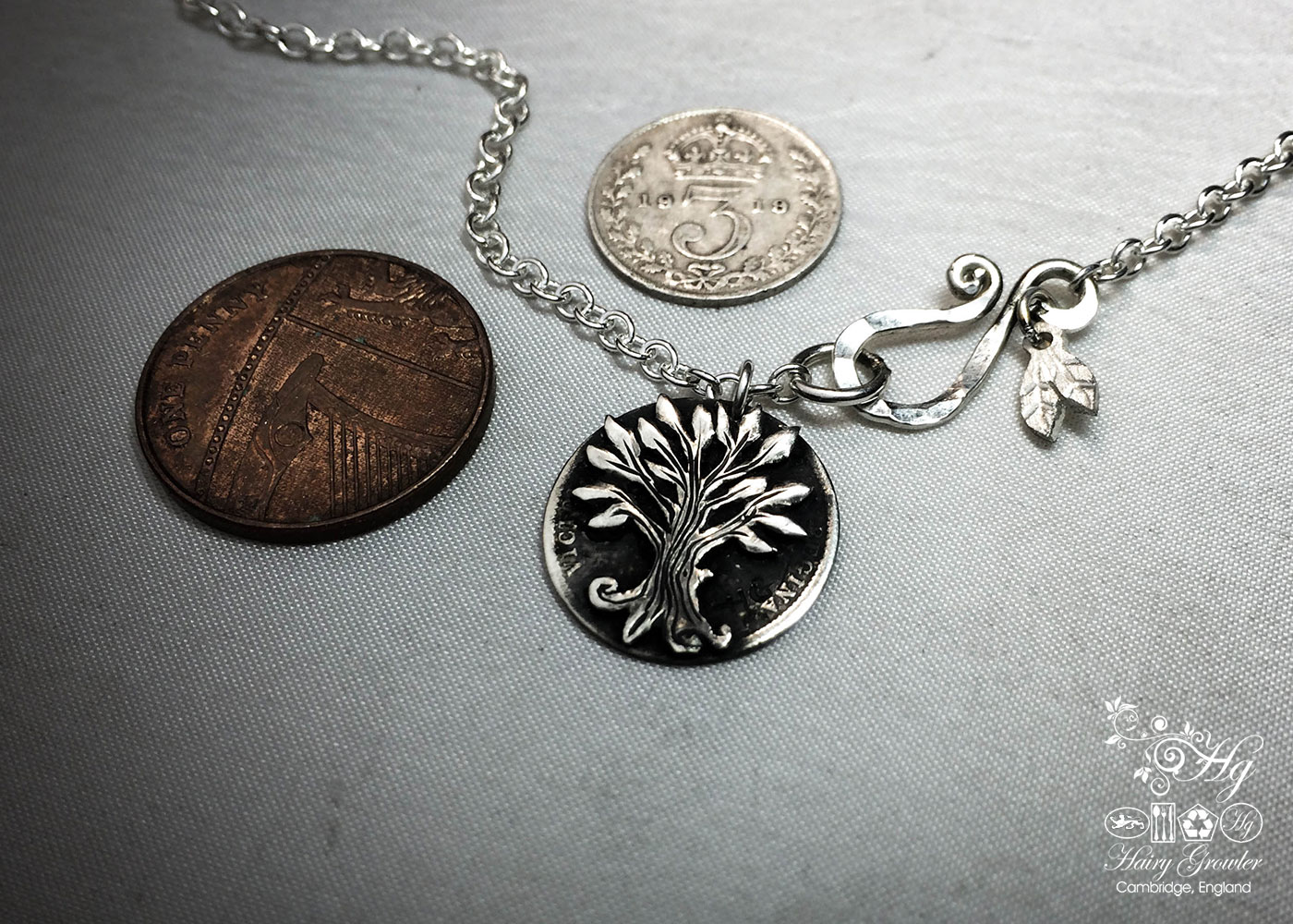 sterling silver threepence coin transformed into a sweet little tree necklace