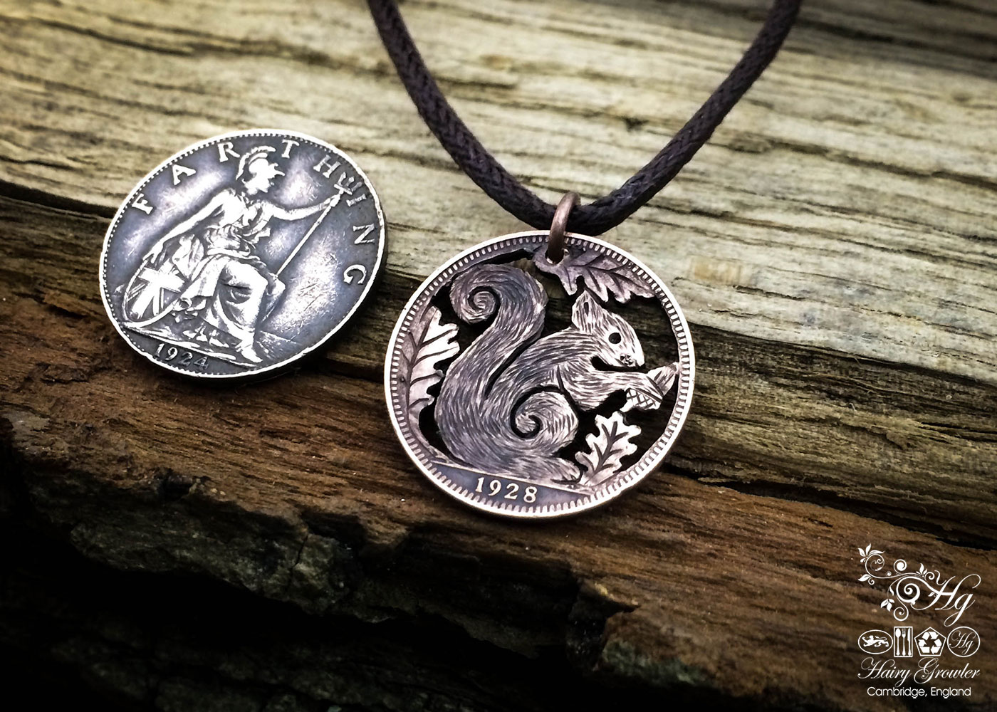 Handcrafted and recycled Farthing coin squirrel pendant necklace
