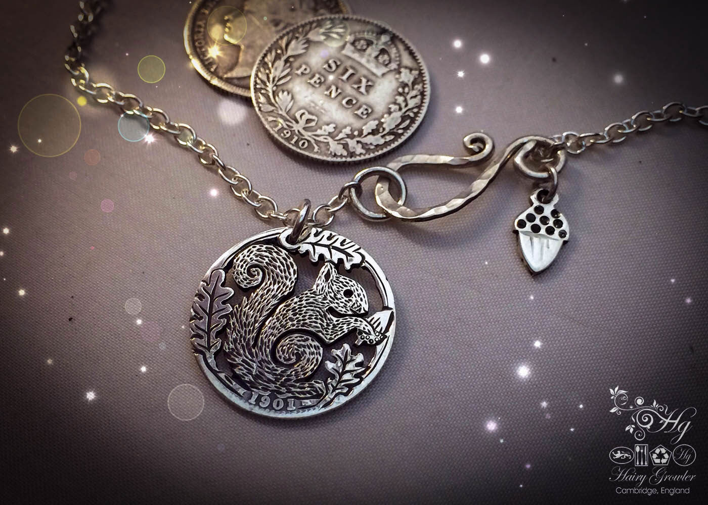 Handcrafted and recycled silver sixpence coin squirrel pendant necklace