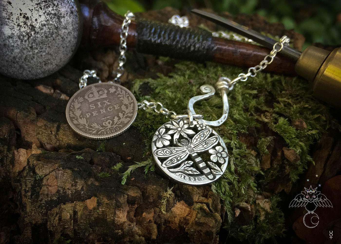 Dragonfly necklace Handmade and repurposed silver shilling The Silver sixpence collection. silver Dragonfly necklace totally handcrafted and recycled from old sterling silver sixpence coins. Designed and created by Hairy Growler Jewellery, Cambridge, UK. necklace