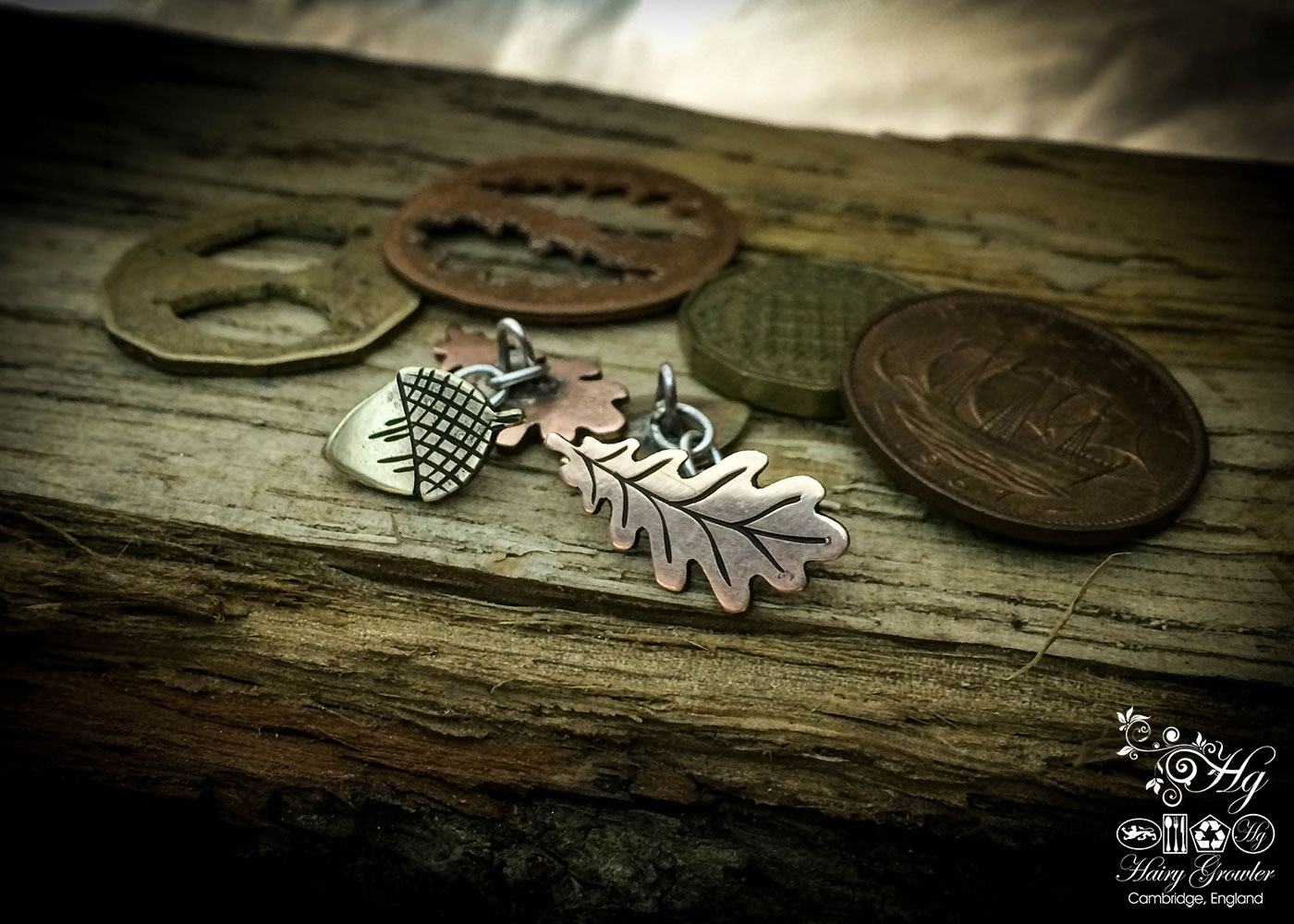 Oak-leaf-acorn cufflinks handcrafted and recycled from half penny and threepence coins