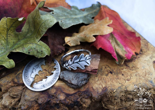 Oak leaf and acorn ring made from Repurposed coins