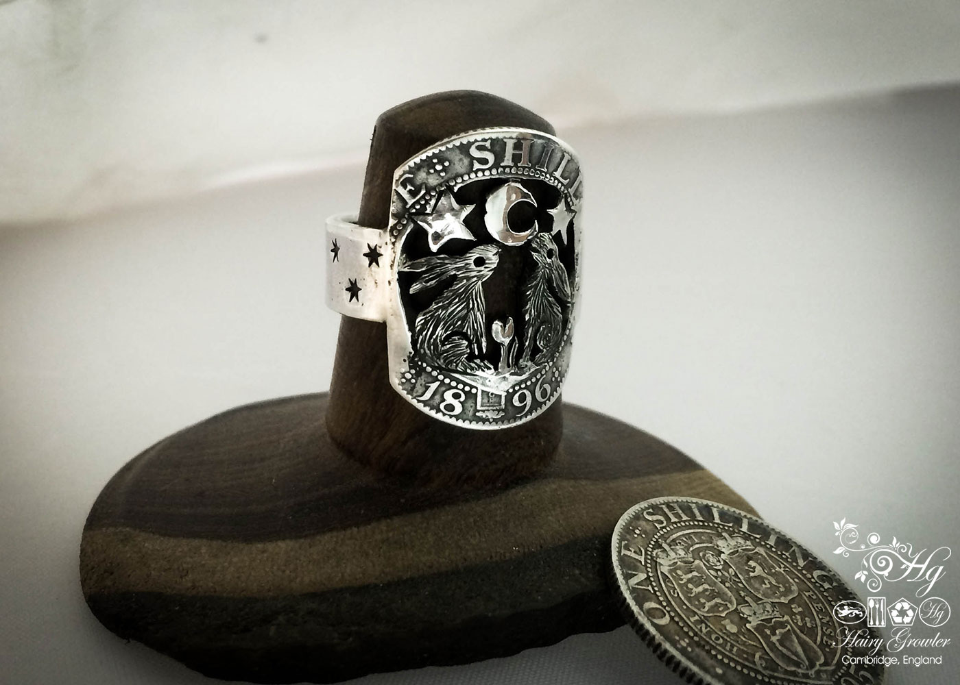 Beautiful nature inspired silver recycled jewellery moon gazing together hare ring made from silver coins