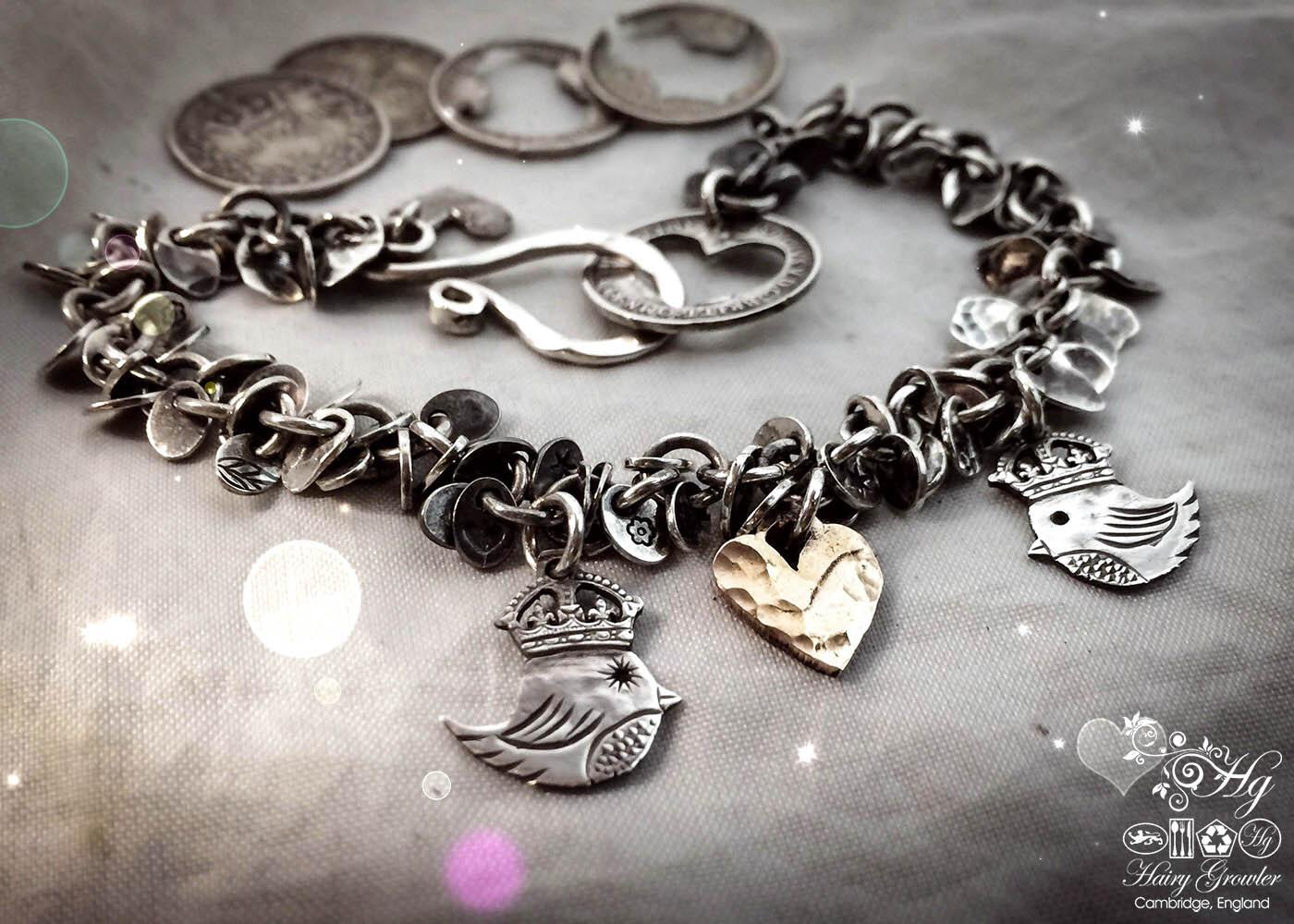 handmade teeny weeny Kingsy Queeny bird bracelet upcycled silver threepence coins