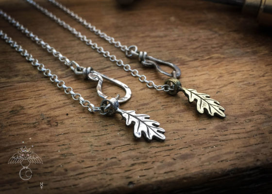 oak leaf jewellery handcrafted and recycled from silver and bronze coins using traditional tools and techniques