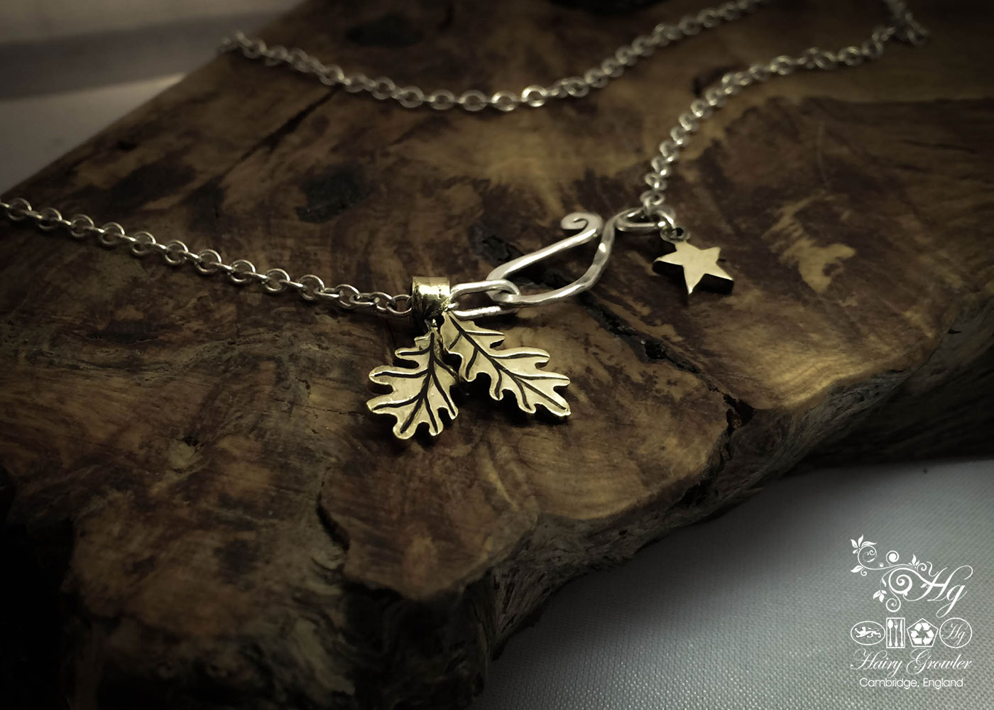 handcrafted bronze pair of oak leaves charm for a tree sculpture, necklace or bracelet