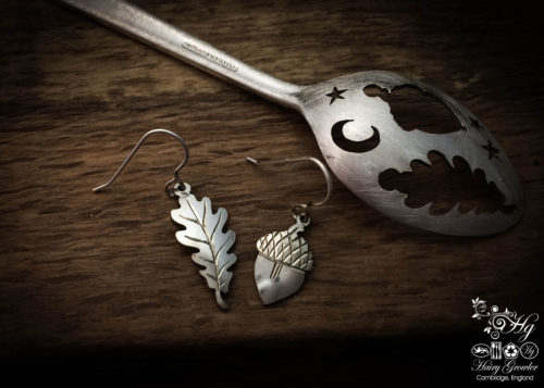handmade and upcycled teaspoon oak leaf and acorn earrings