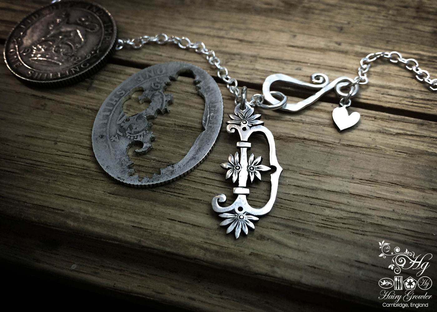 Handcrafted and recycled silver shilling personal flower initial coin necklace pendant