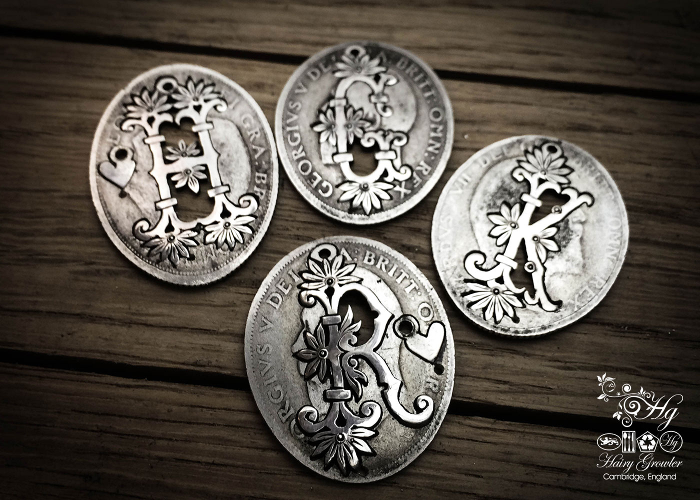 Hand crafted and repurposed silver shilling personal flower initial coin necklace pendant