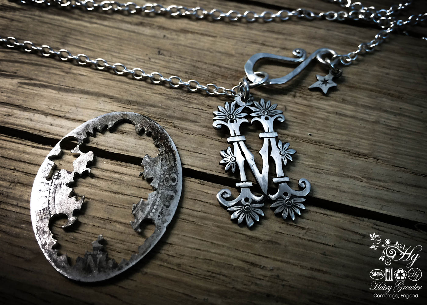 handmade, upcycled, contemporary and original silver coin initial necklace pendant