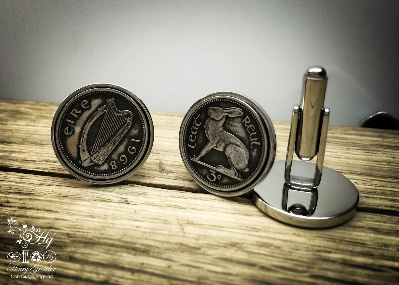 Irish hare threepence coin cufflinks handmade in the Hg workshop