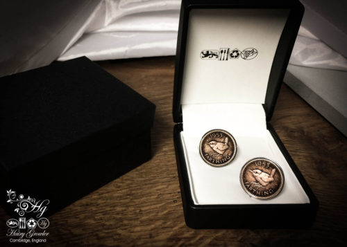 Jenny Wren Farthing coin cufflinks handmade in the Hg workshop