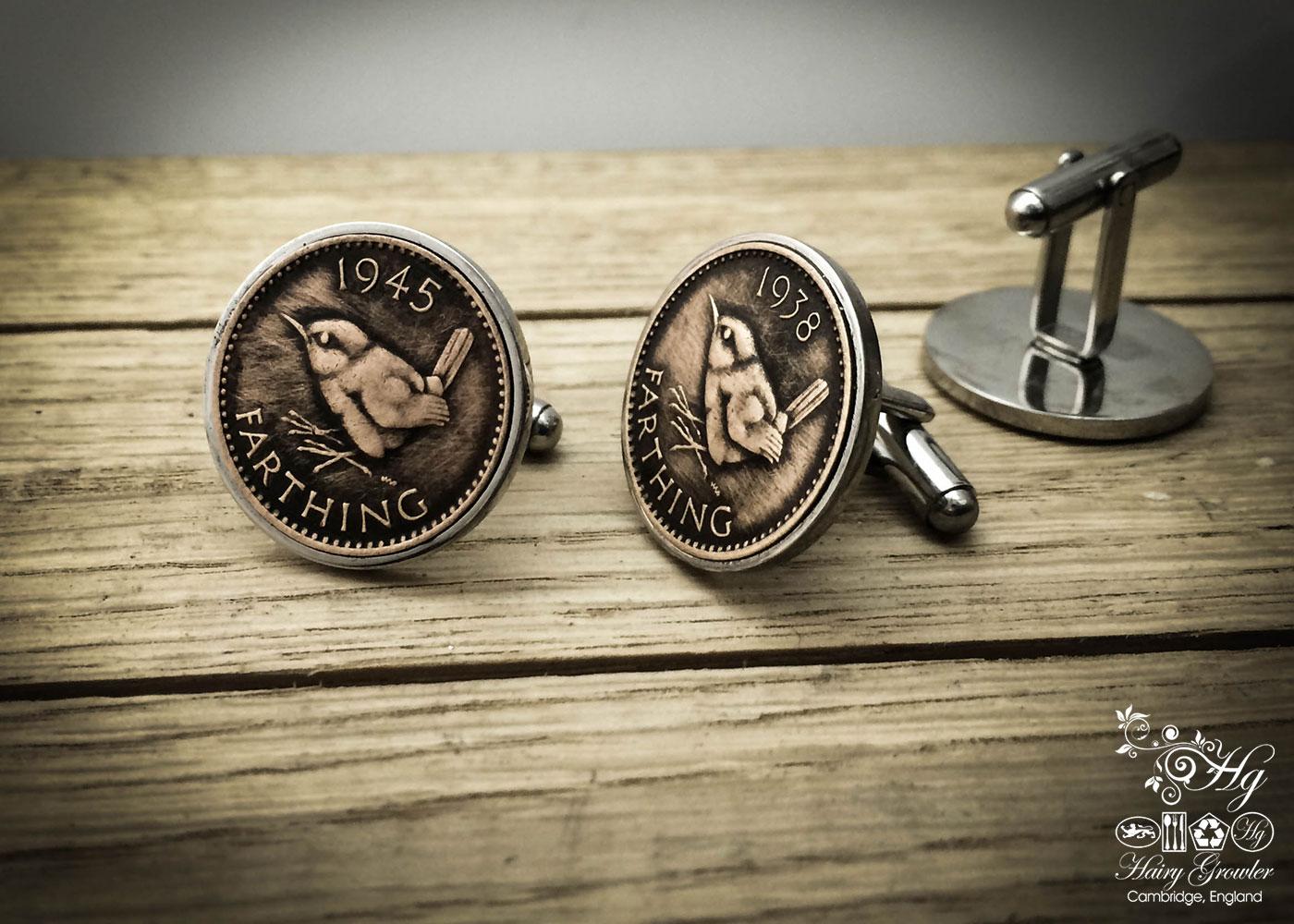 Jenny Wren Farthing coin cufflinks handmade in the Hg workshop