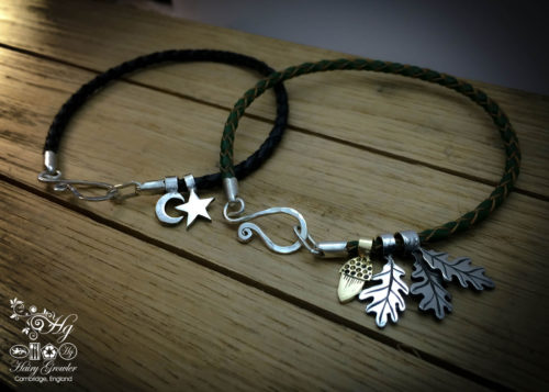 Silver and leather charm bracelet handcrafted and recycled for the tree of life sculpture collection