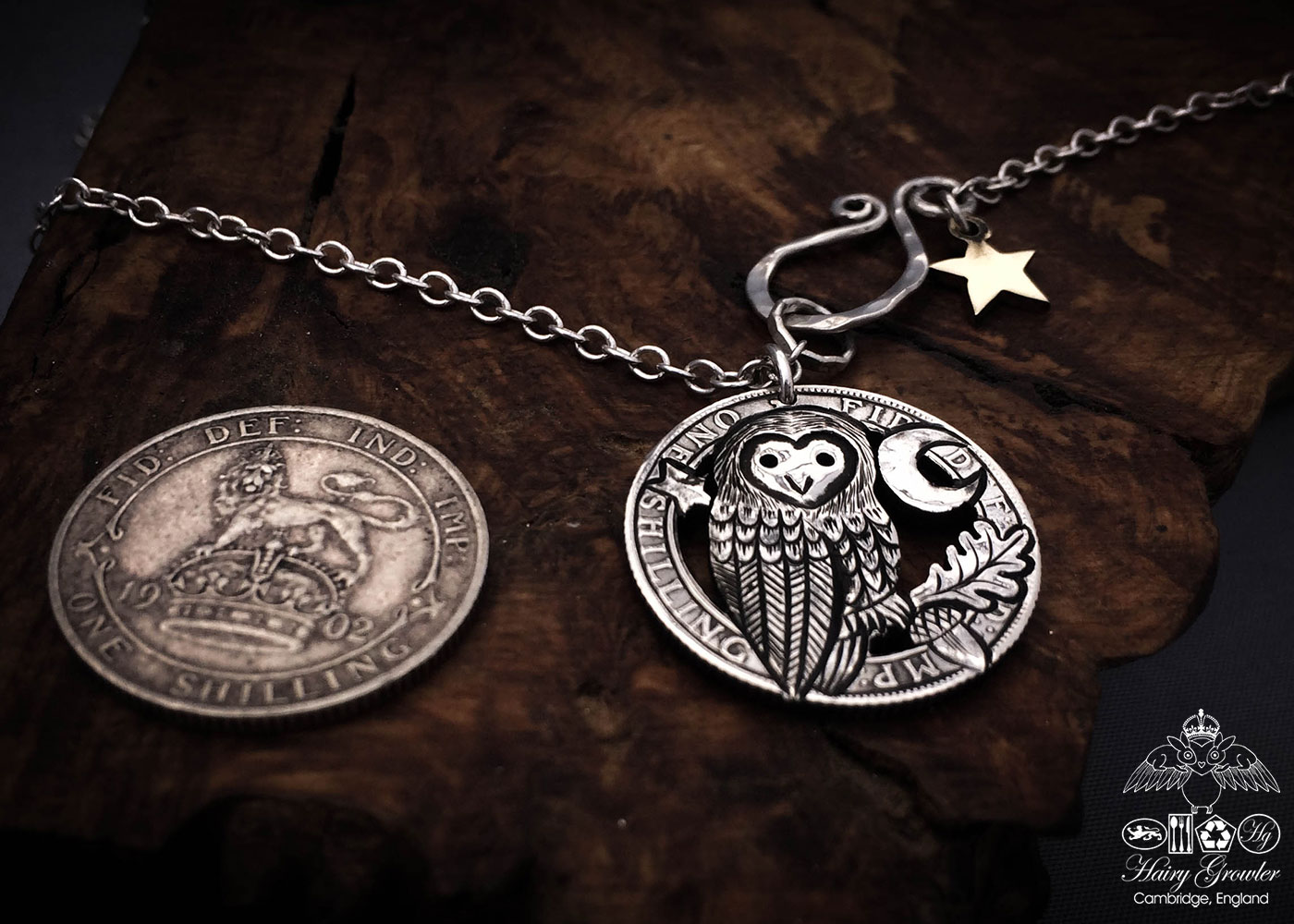 Coin owl handmade and recycled silver shilling The Silver Shilling collection. silver owl necklace totally handcrafted and recycled from old sterling silver shilling coins. Designed and created by Hairy Growler Jewellery, Cambridge, UK. necklace