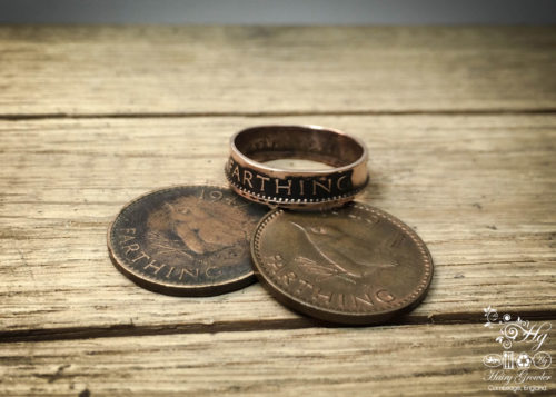 jenny wren farthing coin ring handmade and upcycled fashion