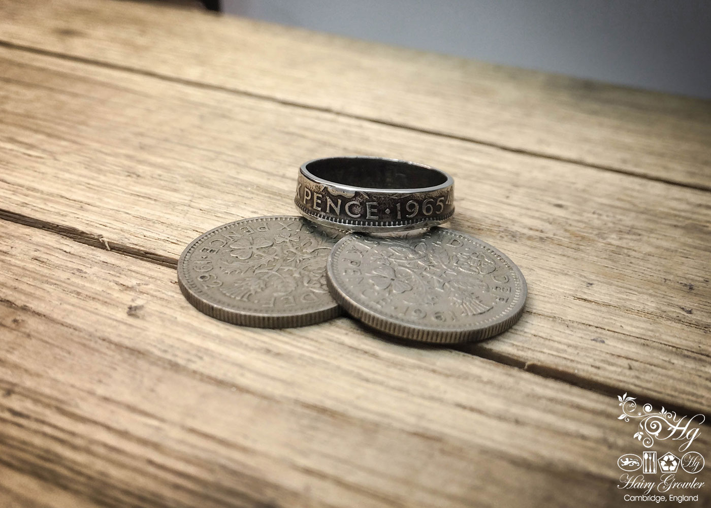 Handcrafted and recycled lucky sixpence coin ring