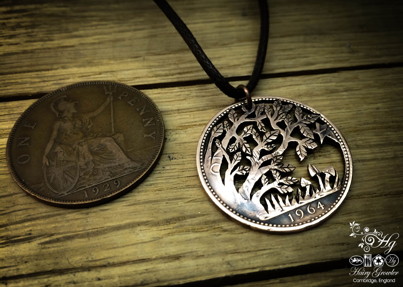 Handcrafted and repurposed autumn tree coin pendant necklace