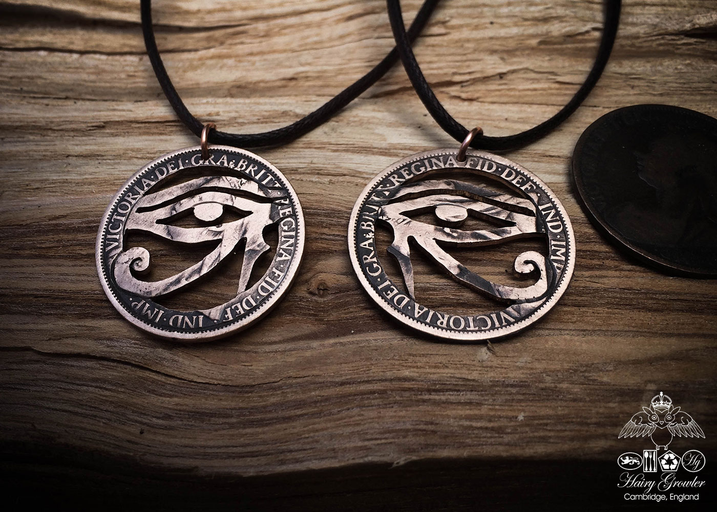 Handcrafted and repurposed coin eye of horus pendant necklace