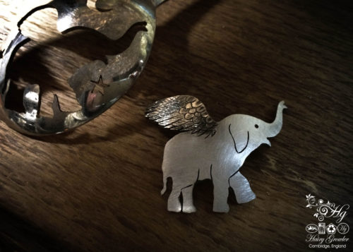 handcrafted and recycled spoon elephant brooch